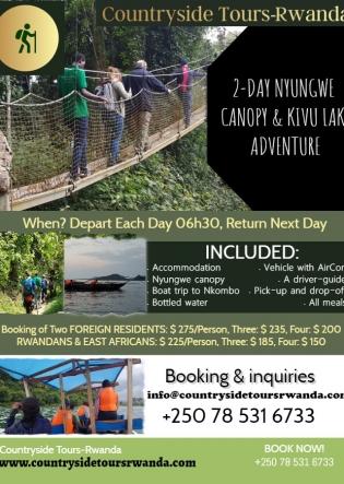 2-Day Nyungwe Canopy and Kivu Lake Adventure